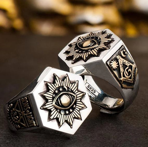32 Degree Silver Sterling Sons of Light Hexagon Masonic Ring