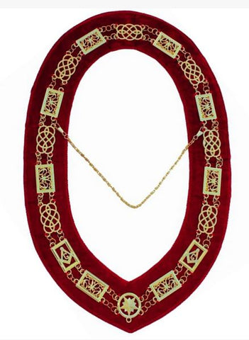 Grand Lodge - Chain Collar - Gold/Silver on Red + Free Case