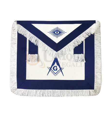 Blue Lodge Master Mason Apron with white Fringe