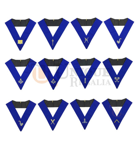 Masonic Blue Lodge Officers Collar Set of 12 Machine Embroidery Collars