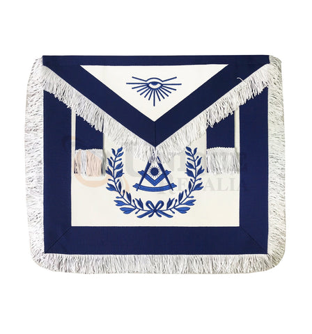 Blue Lodge Past Master Apron with White Fringe
