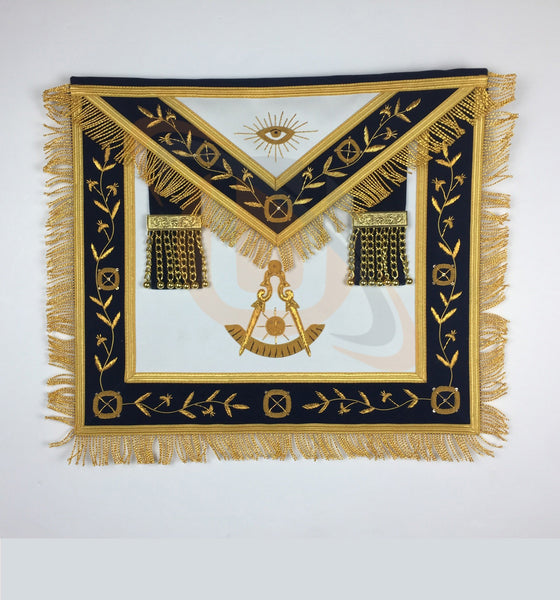 Masonic Blue Lodge Past Master Gold Handmade Embroidery Apron Navy - kitchcutlery  - 1