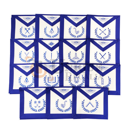 Masonic Blue Lodge Officers Apron Machine Embroidery Set of 15 Pcs