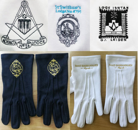 10 Pairs Masonic Embroidered Cotton Gloves Personalised with Square Compass Lodge Name Number & Logo