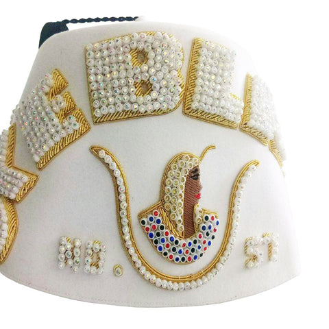 Customisable Handmade Rhinestone Bullion Embroidery Daughters of ISIS Fez Hat
