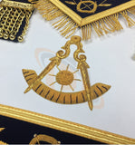 Masonic Blue Lodge Past Master Gold Handmade Embroidery Apron Navy - kitchcutlery  - 2