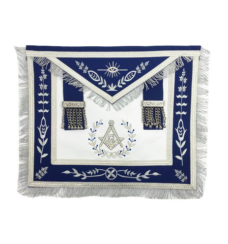 Masonic Blue Lodge Master Mason Silver Machine Embroidery Freemasons Apron - kitchcutlery  - 1