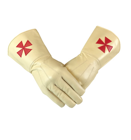 Masonic Knight Templar Gold Gauntlets Leather Gloves