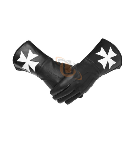 Masonic Knight of Malta Black Gauntlets Soft Leather Gloves - kitchcutlery  - 1