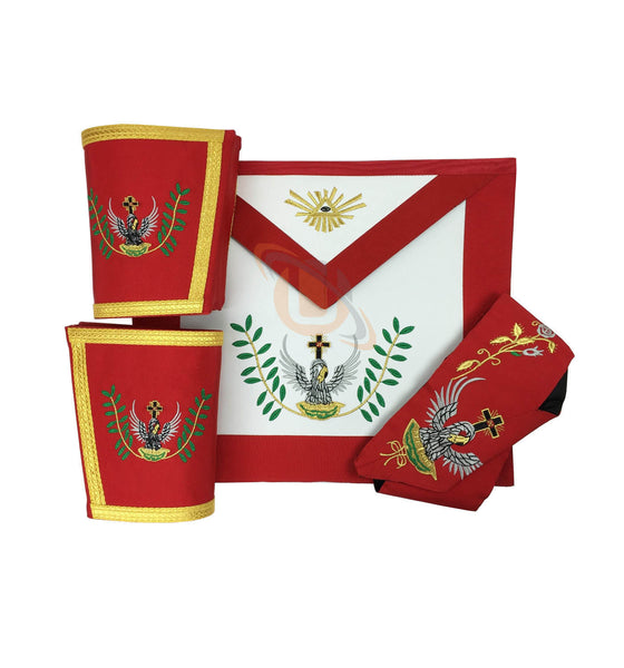 Masonic Rose Croix 18th Degree Apron, Gauntlets and Collar Set - kitchcutlery  - 1