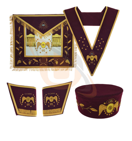 Masonic Scottish Rite 95th Degree Hand embroided Set Apron Collar Cap Gauntlets