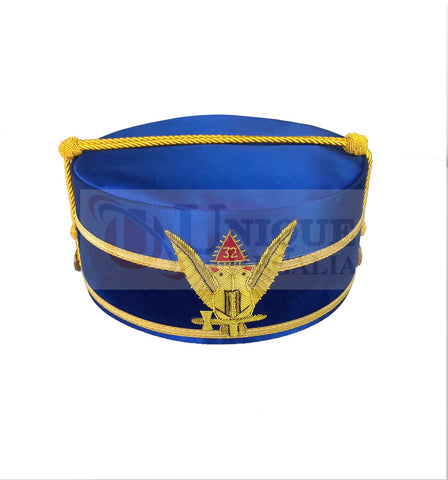Masonic A.A.S.R. 32nd Degree Double Headed Eagle Scottish Rite Cap-Crown Hand Embroidery Blue