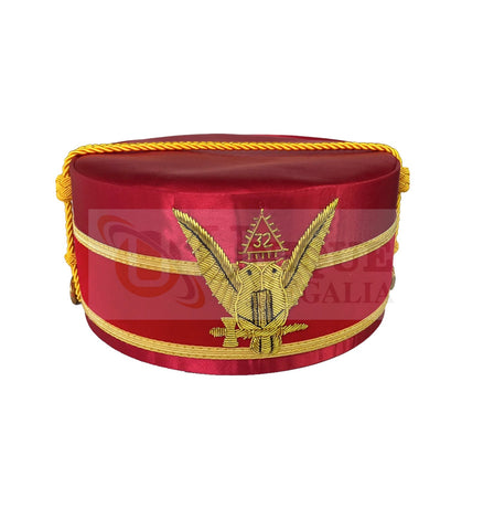 Masonic A.A.S.R. 32nd Degree Double Headed Eagle Scottish Rite Cap-Crown Hand Embroidery Red