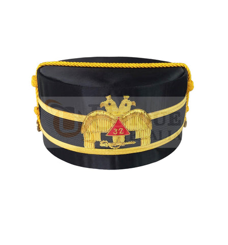Masonic A.A.S.R. 32nd Degree Double Headed Eagle Scottish Rite Cap-Crown Hand Embroidery MD022