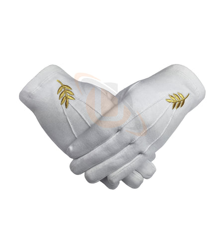Masonic Acacia Leaf Machine Embroidery White Cotton Gloves  - kitchcutlery  - 1