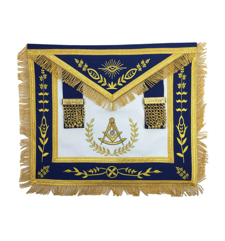 Masonic Blue Lodge Past Master Gold Machine Embroidery Freemasons Apron - kitchcutlery  - 1