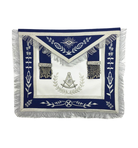 Masonic Blue Lodge Past Master Silver Machine Embroidery Freemasons Apron - kitchcutlery  - 1