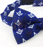 Masonic Regalia 100% Silk woven Bow Tie with Square Compass & G Blue - kitchcutlery  - 2