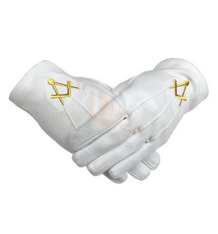 Masonic Cotton Glove with Golden Embroidery Square and Compass - kitchcutlery  - 1