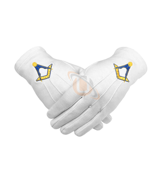 Masonic Cotton Gloves Machine Embroidery Yellow Square and Compass - kitchcutlery  - 1