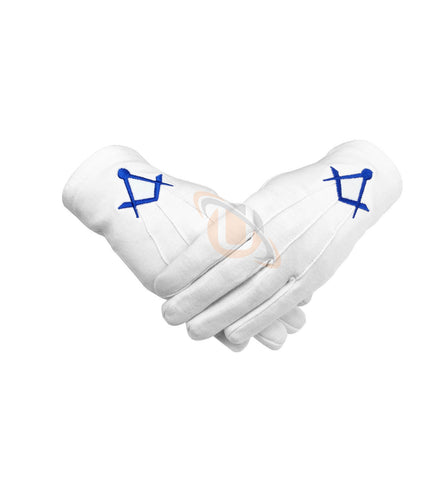 Masonic Cotton Gloves Thin Square and Compass Machine Embroidery - kitchcutlery  - 1