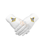 Masonic Gloves Yellow Square compass with G Machine Embroidery - kitchcutlery  - 1
