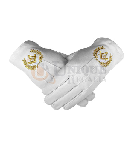 Masonic Cotton Gloves with Machine Embroidery  Square Compass and G Gold/Silver