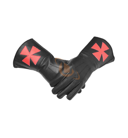 Masonic Knight Templar Black Gauntlets Soft Leather Gloves - kitchcutlery  - 1