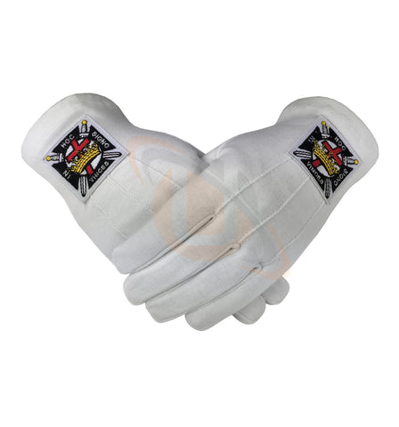 Masonic Knight Templar KT 100% Cotton Machine Embroidery Emblem Glove - kitchcutlery  - 1