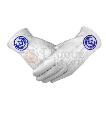 Masonic Regalia White Soft Leather Gloves Square Compass Yellow/Blue