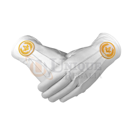 Masonic Regalia White Soft Leather Gloves Square Compass & G Yellow/Blue