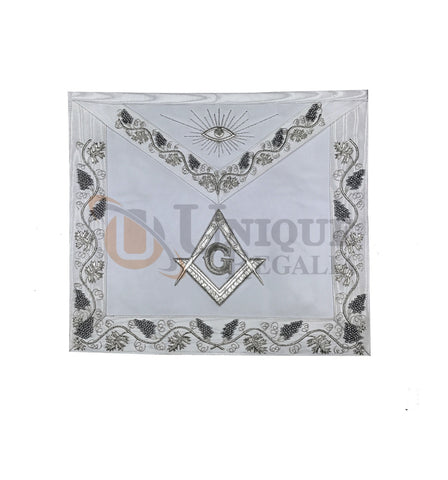 Masonic MASTER MASON Grand White Hand Embroided Apron with square compass G