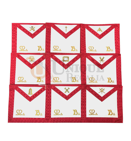 Masonic Scottish Rite Officers Apron Set of 9 AASR (REAA)
