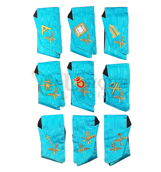 Masonic Blue Lodge Officers Collars Set Of 9 Collars AASR