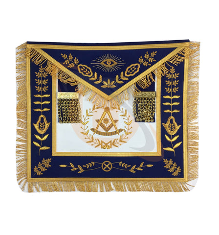 Masonic Blue Lodge Past Master Gold Handmade Embroidery Apron Blue Velvet - kitchcutlery  - 1