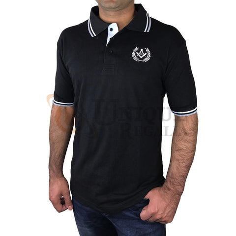 Masonic Golf Polo Shirt with Square compass & G Embroidery Logo Black/Grey/Blue