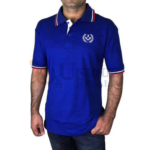 Masonic Golf Polo Shirt with Square compass Embroidery Logo Black/Grey/Blue