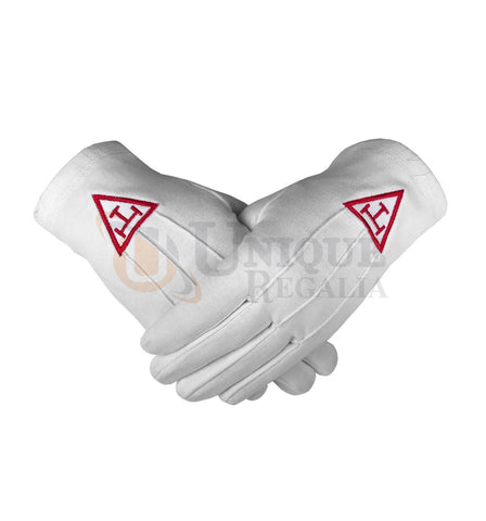 Masonic Regalia Royal Arch Cotton Gloves with beautiful Embroidery Logo