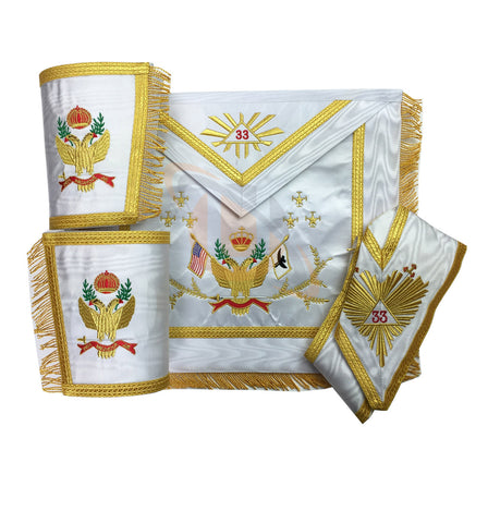 Masonic Rose Croix 33rd Degree Apron, Gauntlets and Collar Set Wings Up