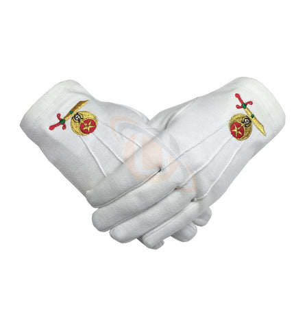 High Quality Masonic Shriner Emblem White Cotton Glove Masonic Glove - kitchcutlery  - 1
