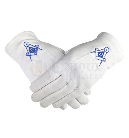 Masonic Cotton Gloves Blue Square Compass & G Machine Embroidered