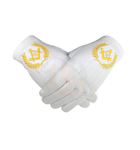 Masonic Regalia 100% Cotton Gloves with beautiful Square Compass and G - Yellow