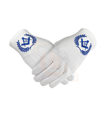 Masonic Regalia 100% Cotton Gloves with beautiful Square Compass and G - Blue