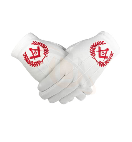 Masonic Regalia 100% Cotton Gloves with beautiful Square Compass and G - Red