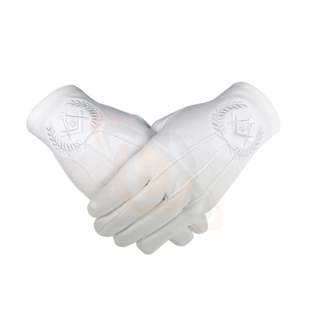 Masonic Regalia 100% Cotton Gloves with beautiful Square Compass and G - White
