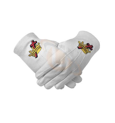 Masonic Knight Templar KT 100% Cotton Machine Embroidery white Glove - kitchcutlery  - 1
