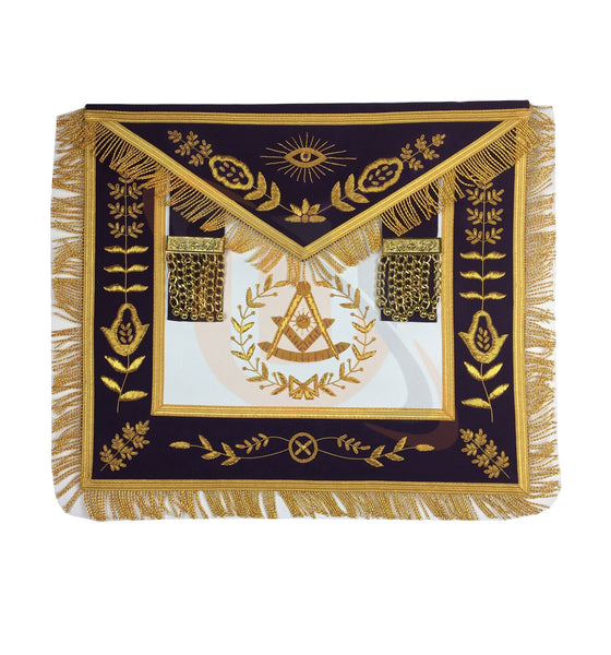 Masonic Blue Lodge Past Master Gold Handmade Embroidery Apron Purple Velvet - kitchcutlery  - 1