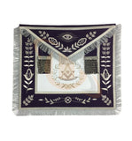 Copy of Masonic Blue Lodge Past Master Silver Handmade Embroidery Apron Purple Velvet - kitchcutlery  - 1