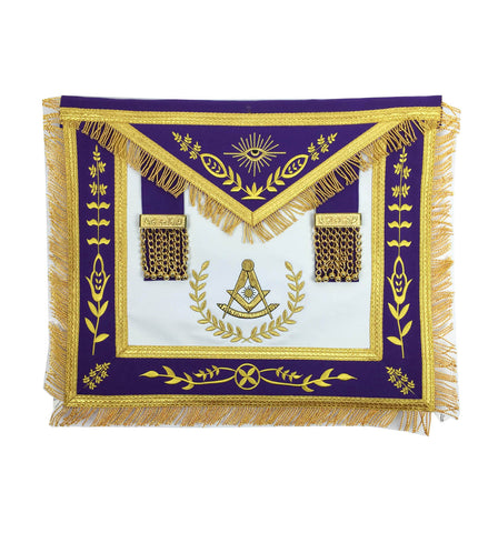 Masonic Blue Lodge Past Master Gold Machine Embroidery Purple Apron - kitchcutlery  - 1
