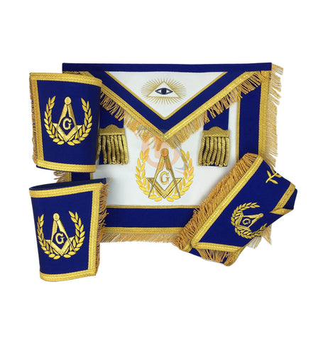 Masonic Blue Lodge Master Mason Apron with Fringe Set Apron,Collar gauntlets (Cuffs) - kitchcutlery  - 1